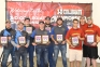 SIC's gold medal men's bow hunter team, flanked by Hocking College on the left and Emmanuel College on the right, consisted of (l-r) Eli Bond of Thompsonville, Matt Horton of Thompsonville, and Hunter Chowning from Covington, Indiana.  Bond also won the individual gold in men's bow hunter, making him USA Archery's #1 ranked collegiate bow hunter in the nation.