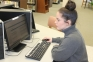 Southeastern Illinois College freshman Kyla Kalodner of Carrier Mills works on online classes in the SIC Melba Patton Library.