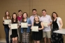 Circle K Service Awards were given to (l-r) Kaylee Payne of Galatia, Bridget Payne of Harrisburg, Jordan Richey of Benton, Briley Hankins, Alex McRoy, Micaylen Wolf and Camden Schiff all of Harrisburg presented by Sara DeNeal, Circle K sponsor. Not pictured: Braden McConnell of Harrisburg.